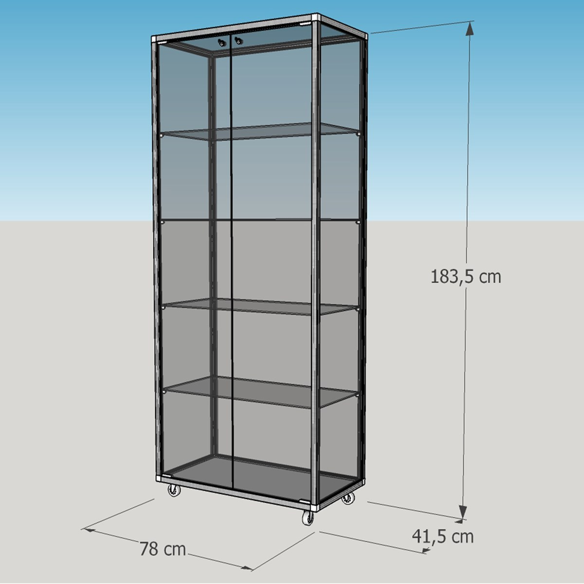 Breite Stehende Glasvitrine Abschließbar 80 Cm Ohne Spiegelrückwand Auf Rollen