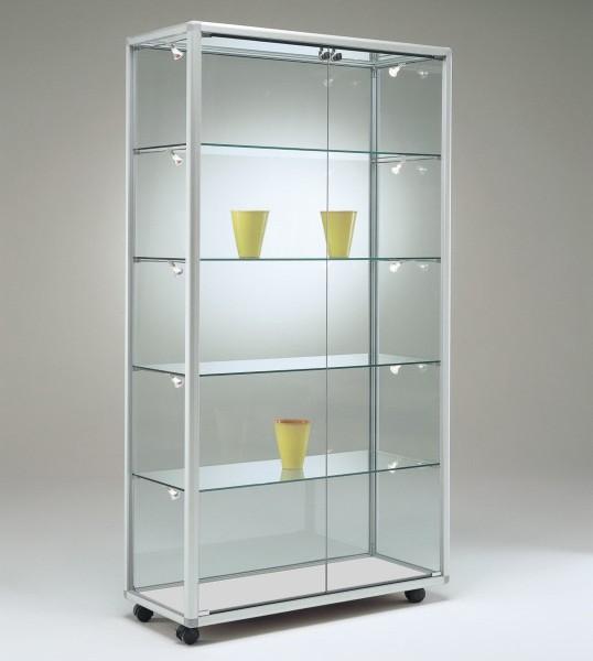 schmale moderne Glasvitrine Ausstellung abschließbar 80 x 50 cm  - Art.-Nr. BV7952-ob-r-gr