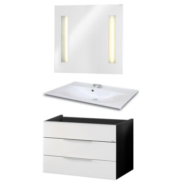 Fackelmann Badmöbel Set Kara 3-tlg. 80 cm weiß inkl. Spiegelelement