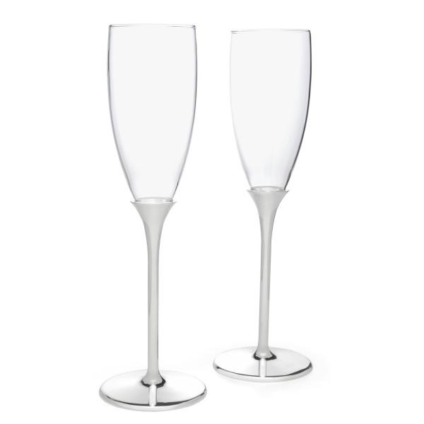hohe glänzend silberne Champagnergläser Set 2-teilig