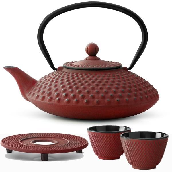 Teekanne Set Kessel Teekessel 1,25 Liter Kanne mit Untersetzer und 2 Becher rot