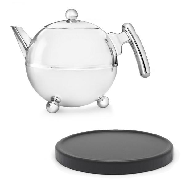 kleine glänzende doppelwandige Edelstahl Teekanne 0.75 L & schwarzer Holzuntersetzer
