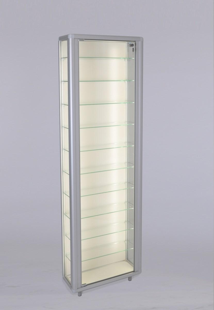 Flache Verschließbare Glas Wandvitrine Beleuchtet Staubgeschützt 20 Cm Tief 2 X 40 W