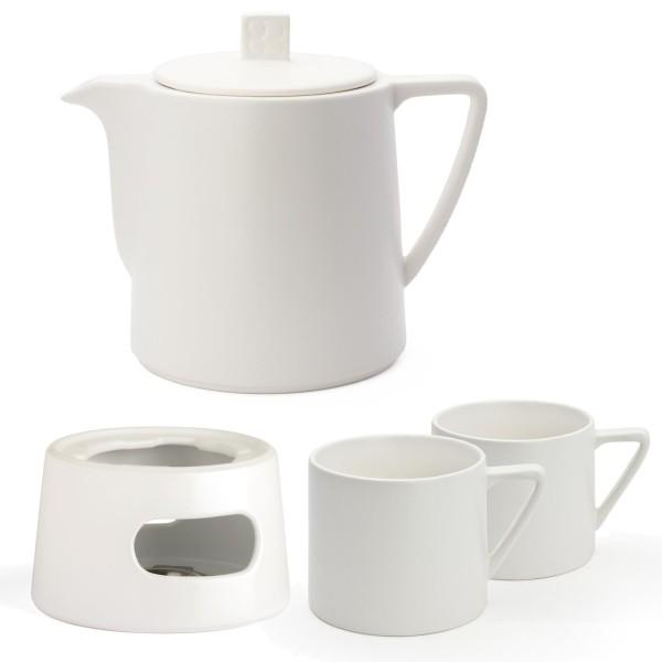 Bredemeijer weiße matt glasierte Keramik Teekanne Set mit Teewärmer und 2 Teebecher