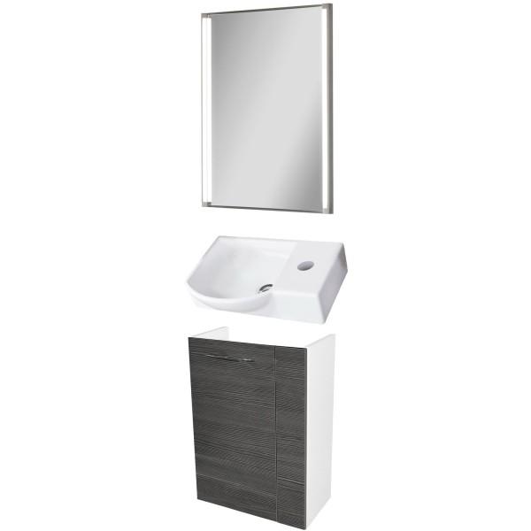 Fackelmann Badmöbel Set Vadea Gäste WC 3-tlg. 45 cm anthrazit weiß LED Spiegelelement