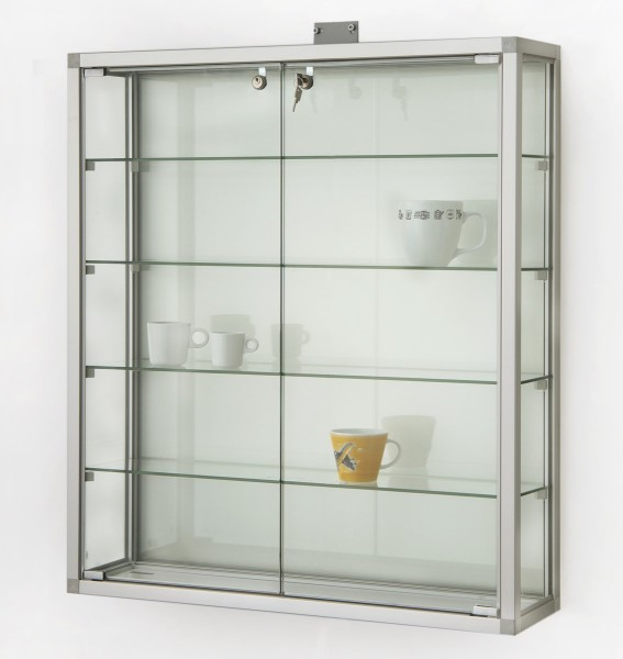 abschließbare Glas-Hängevitrine Aluminium ca. 80 cm mit Glasrückwand / mit quadratischen Profilen
