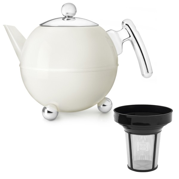 Bredemeijer creme-weiße bauchige doppelwandige Edelstahl Teekanne 1.2 Liter mit Filter-Sieb