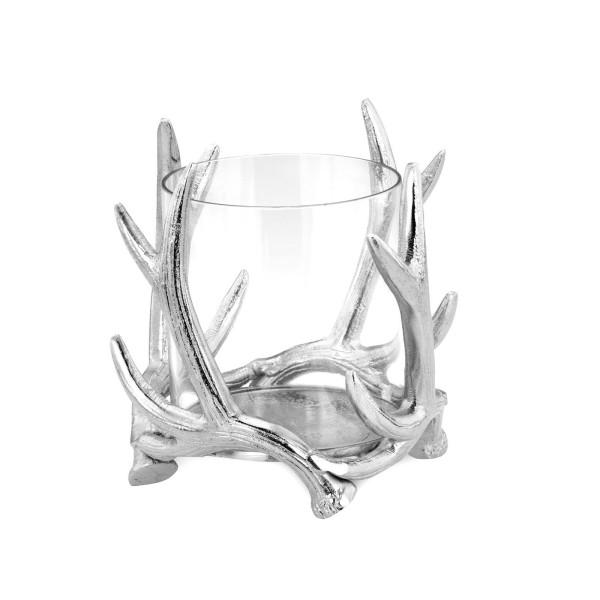 kleines Glas Windlicht Aluminium poliert Ø 15 cm Motiv Hirschgeweih - Art.-Nr. 6379alu