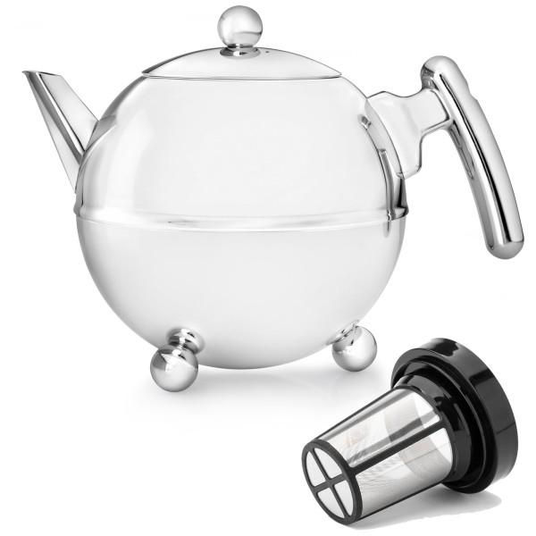 Bredemeijer große Edelstahl Teekanne 1.2 L doppelwandig & Filter-Sieb