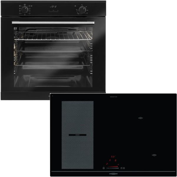 Oranier schwarzes Einbaubackofen Set & 80 cm breites Flexx Induktionskochfeld KXI 2081
