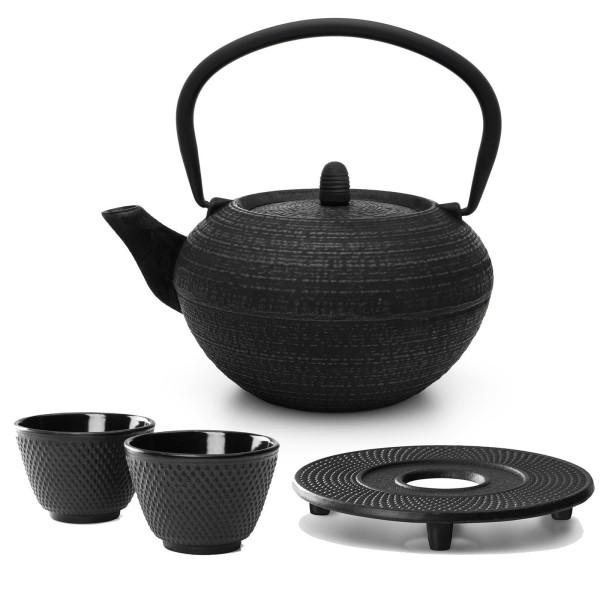 schwarze runde gusseiserne Asia Teekanne 1.2 Liter inkl. Filtersieb & Untersetzer & 2 Becher