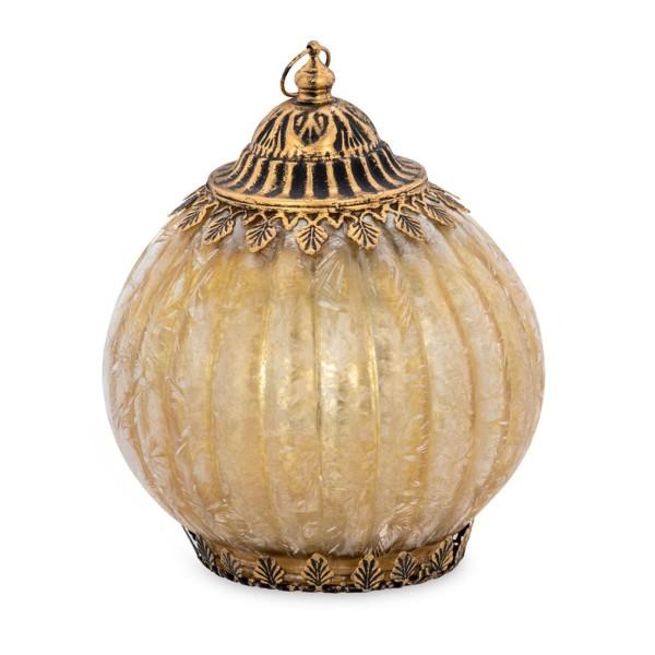 große antike LED Glas Laterne Ø 12.5 cm perlmutt Lichterkette innen - Art.-Nr. 5327ver