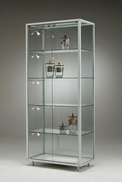 breite stehende Glasvitrine abschließbar mit LED-Beleuchtung 80 cm  ohne Spiegelrückwand / auf Rollen
