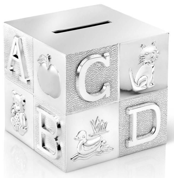 Zilverstad Spardose Würfel ABC versilbert anlaufgeschützt L 7,5 cm B 7,5 cm H 7,5 cm - Art.-Nr. A6016260