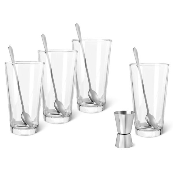 Gin Tonic Set mit Gläser und Barmaß aus Edelstahl 9-teilig