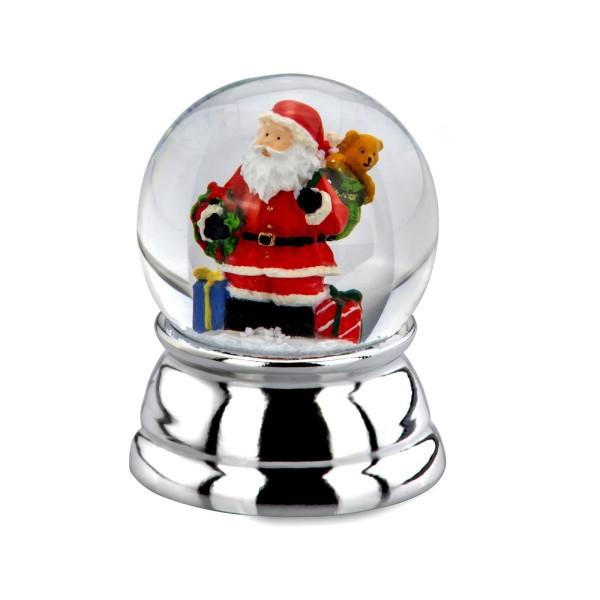 kleine versilberte Glas Schneekugel Ø 5 cm farbiger Weihnachtsmann - Art.-Nr. 5329ver