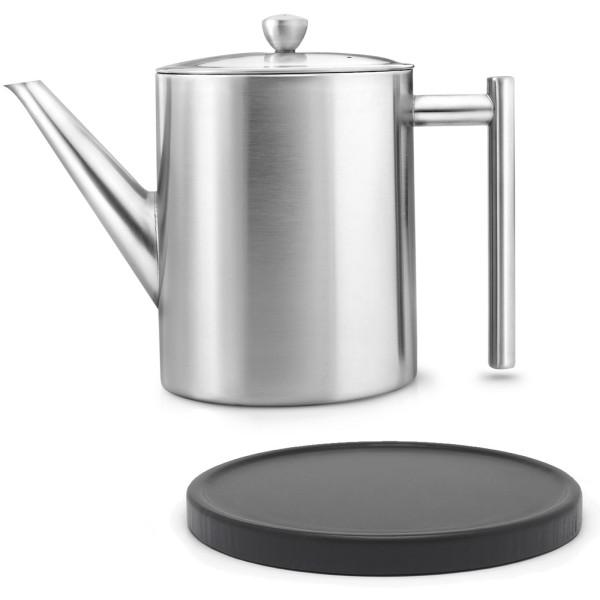 hohe matte doppelwandige Edelstahl Teekanne 1.2 L & schwarzer Holzuntersetzer