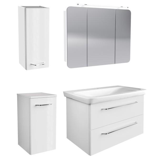 Fackelmann weißes hängendes Bad Möbel Set 100 cm 5 teilig LED