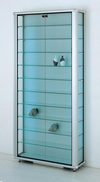 breite verschließbare Glas Wandvitrine staubdicht beleuchtet 20 cm tief  2 x 40 W - Art.-Nr. OL7923-mb