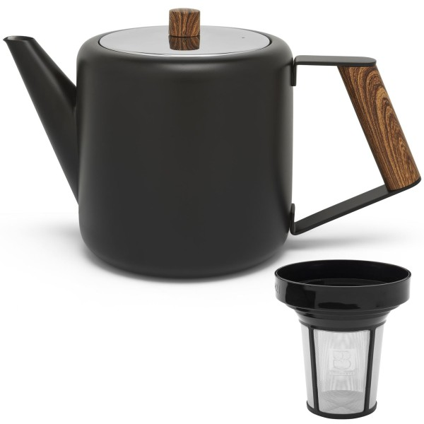 kleine schwarze doppelwandige Edelstahl Teekanne 1.1 L Holzgriff & Filter-Sieb