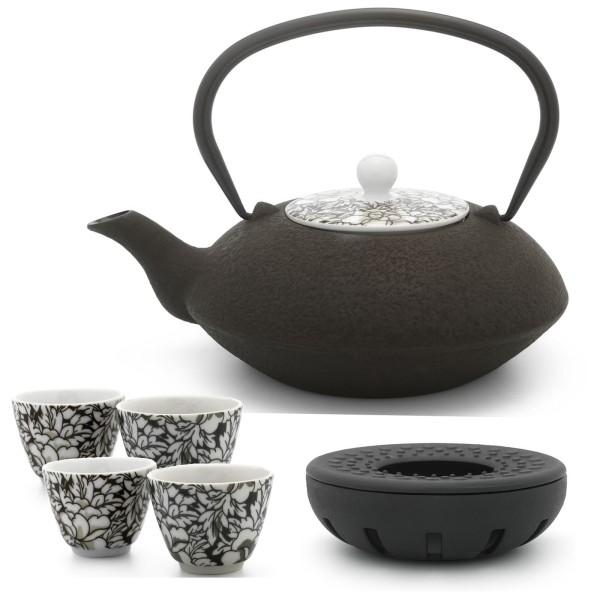gusseiserne Teekanne 1,2 Liter asiatisch & Teewärmer & 4 Porzellan-Teebecher braun