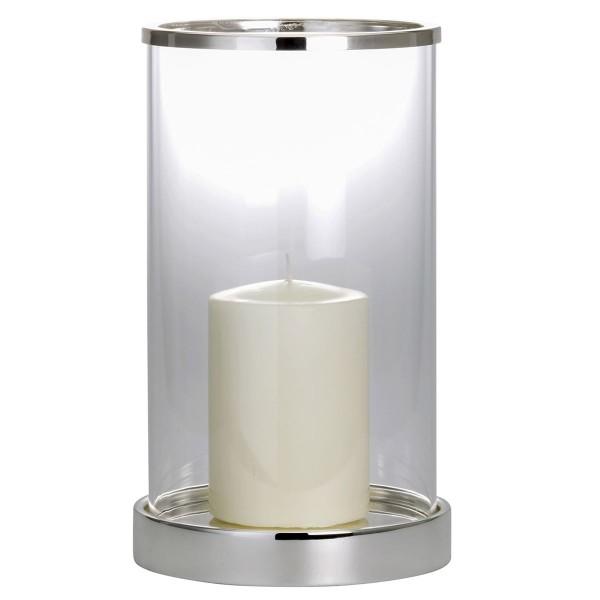 H.Bauer jun. Windlicht 20.5 cm glatt poliert Höhe 34 cm - Art.-Nr. 5182ver großes versilbertes