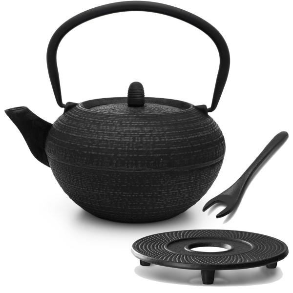 schwarze runde gusseiserne Asia Teekanne 1.2 Liter inkl. Filtersieb & Untersetzer & Deckelheber