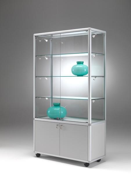 große beleuchtete Verkaufsvitrine abschließbar mit Unterschrank 100 x 40 cm  - Art.-Nr. BM9942-mb-r-gr