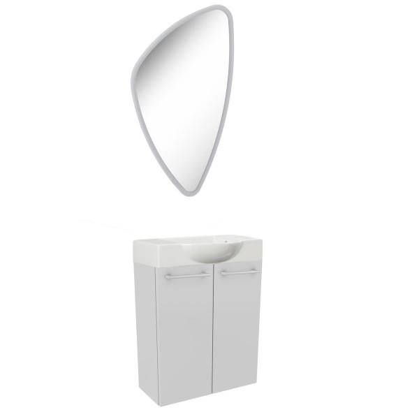Fackelmann weißes Gäste WC Badmöbel Set hängend 55 cm 3 tlg