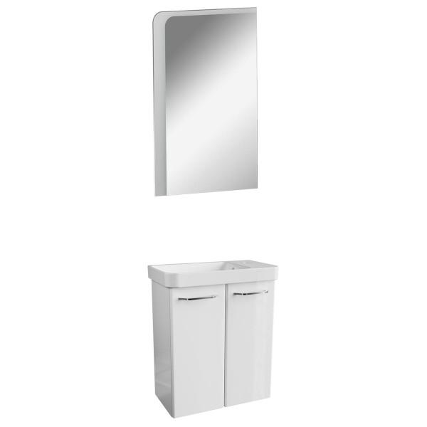 Fackelmann kleines weißes Gäste WC Badmöbel Set 3 teilig 55 cm