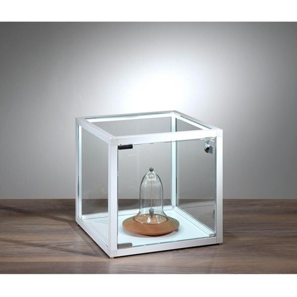 kleine quadratische Tisch Präsentationsvitrine beleuchtet mit Schloss 42 cm - Art.-Nr. VW-4242-LED-W-mb