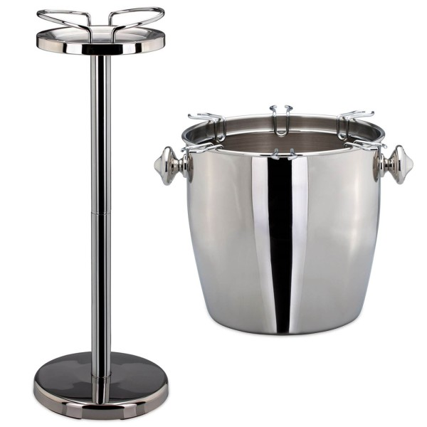 Sektkühler Weinkühler mit Glashalter & Ständer Edelstahl Kühler Flaschenkühler