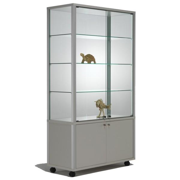 moderne beleuchtete Glasvitrine abschließbar mit Unterschrank 100 x 40 cm