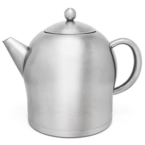 große runde doppelwandige XL Edelstahl Teekanne 2.0 Liter