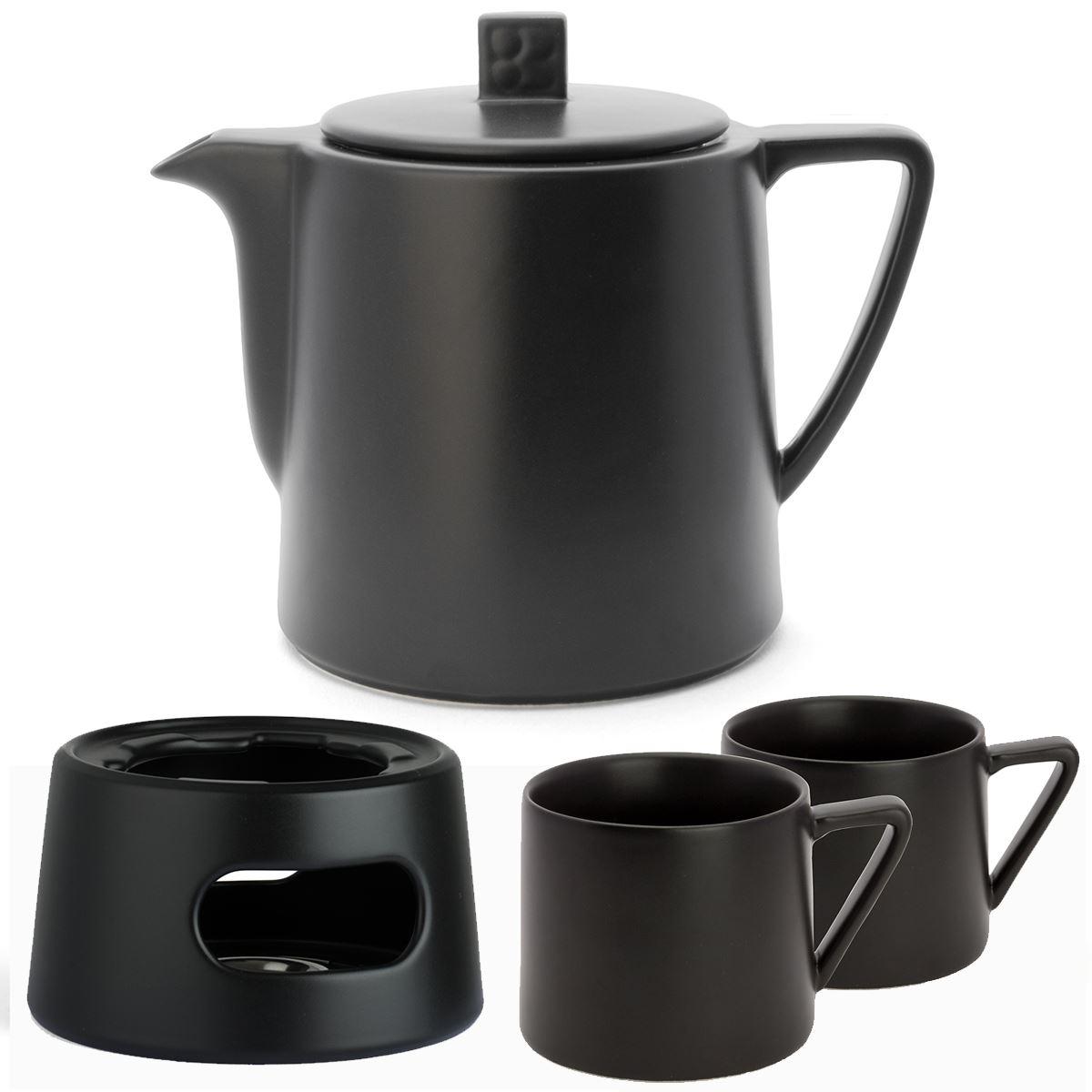 Teekanne Keramik Edelstahl-Sieb Teapot Teefilter Steingut-Kanne Tee grau 1,0 L