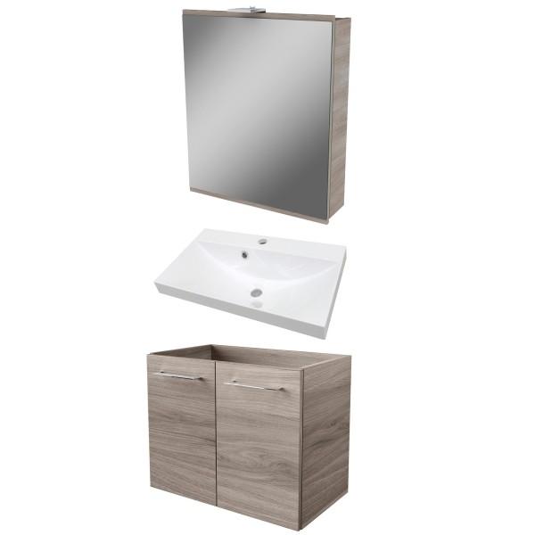 Fackelmann Badezimmer Set 3 teilig & LED Spiegelschrank braun 60 cm