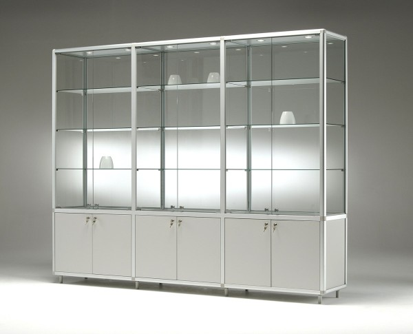 breite Glas Ausstellungsvitrine beleuchtet & Unterschrank abschließbar 150 cm  - Art.-Nr. BM15542-mb-gr