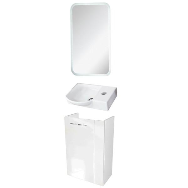 Fackelmann Badmöbel Set Vadea Gäste WC 3-tlg. 45 cm weiß inkl. LED Spiegelelement