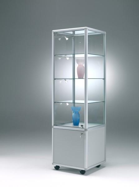 schmale beleuchtete Verkaufsvitrine abschließbar mit Unterschrank 50 x 50 cm  - Art.-Nr. BM5252-mb-r-gr