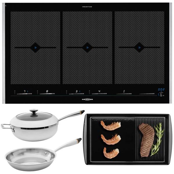 Oranier Flächeninduktion Kochfeld Set FLI 2088 be cook & 2 Pfannen & Grillplatte & Seitenleisten