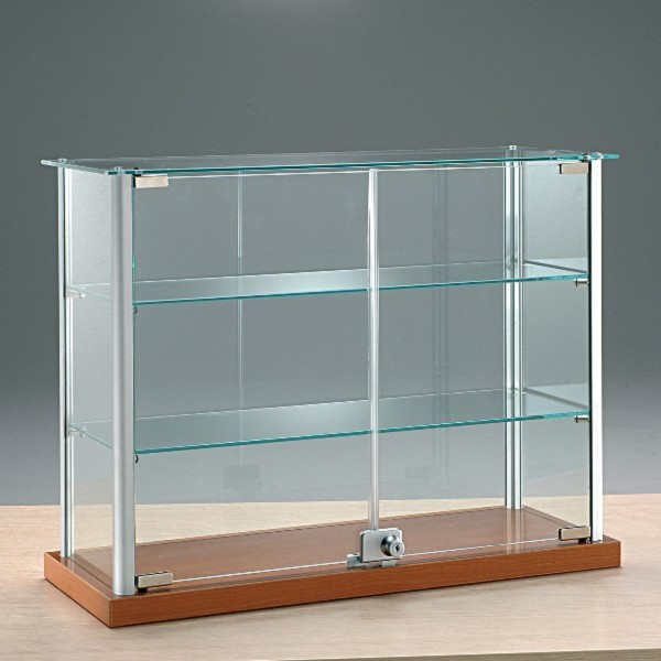 kleine breite Aufsatzvitrine Glas 65 cm Tischvitrine Alu abschließbar kirschbaum - Art.-Nr. ADT65-25-ob-kirsche