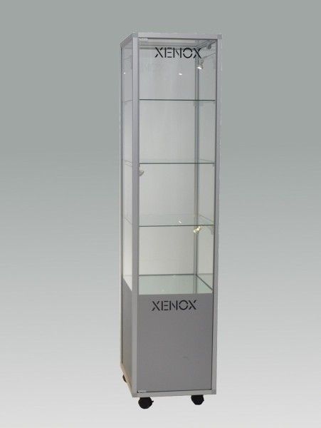 beleuchtete stehende Glasvitrine mit Staufach abschließbar 40 cm  ohne Spiegelrückwand / auf Rollen