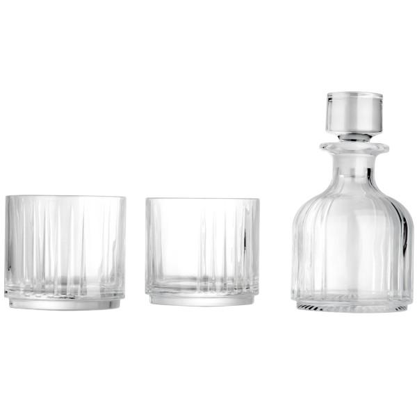 Leopold Vienna kleine gläserne Kristall Whiskeykaraffe mit 2 Gläser & doppelwandigem Eiseimer