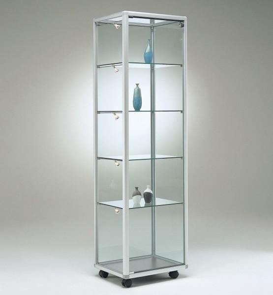 schmale moderne beleuchtete Glasvitrine Ausstellung abschließbar 50 x 50 cm - Art.-Nr. BV5252-mb-r-gr