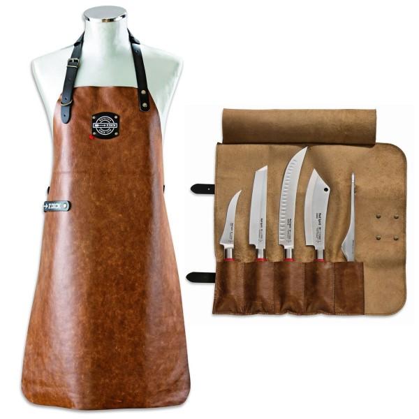 Dick Red Spirit bestückte 5-teilige Messer Leder Rolltasche inkl. Ledergrillschürze