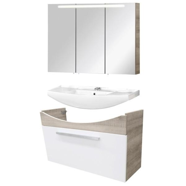 Fackelmann Badmöbel Set A-Vero 3-tlg. 100 cm grau weiß inkl. Spiegelschrank