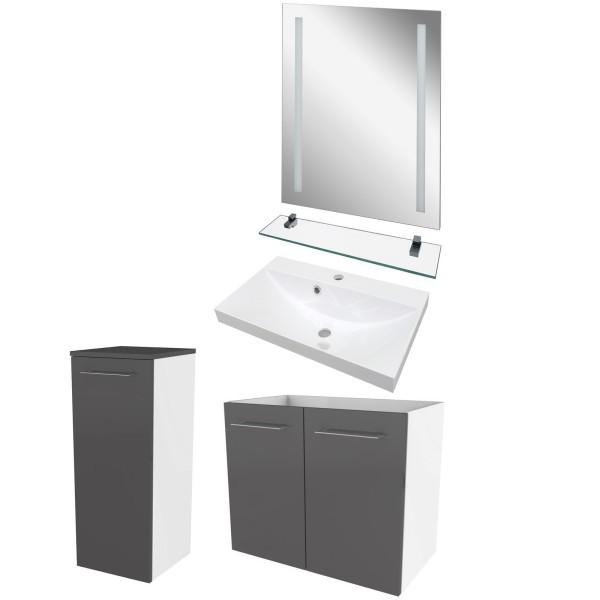 Fackelmann Badmöbel weiß grau Set 5 teilig & LED Badspiegel 60 cm