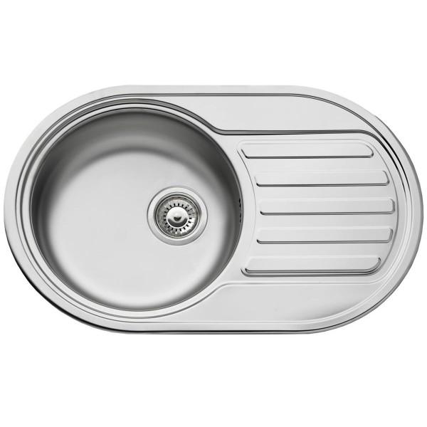 ovale Edelstahl Küchenspüle 76.5 cm 1 Becken mit Ablage
