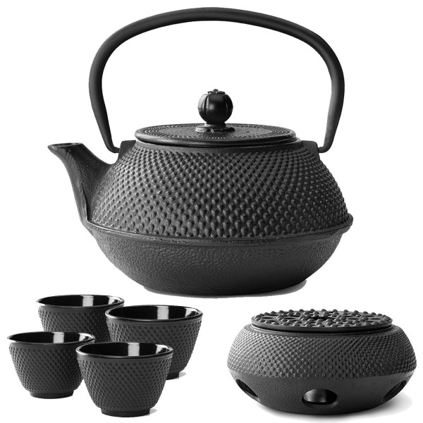 Teekanne Set Gusseisen Teekessel 0,8 Liter mit Stövchen und 4 Teebecher schwarz