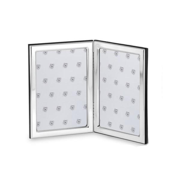kleiner Doppelrahmen 925 Silber mit Holzrücken 10x15 cm